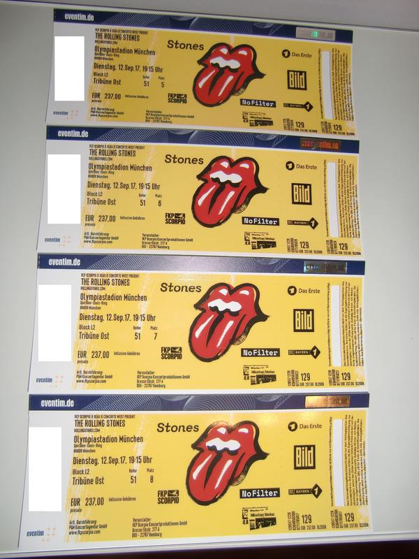 TOP-Tickets - Rolling Stones - München 12. 09. 2017 - 2 od. 4 Tickets, Beste Sitzplätze nebeneinander! - München Berg Am Laim - TOP-Tickets für das Rolling Stones Konzert in München 12.09.2017 - 2 od. 4 Tickets - Konzert ist längst ausverkauft! - Beste Sitzplätze! - Alle nebeneinander! - Beste Sicht zur Bühne!Ich biete insgesamt 4 Tickets für das Roll - München Berg Am Laim